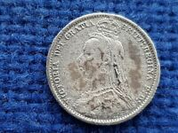 1887 Jubilee head Victoria silver sixpence condition as photos uncleaned. L38n