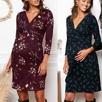 New Women Pregnant Nusring Maternity Floral Print V Neck Long Sleeve Short Dress