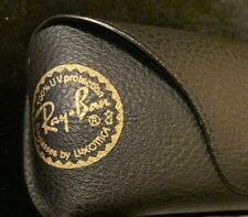 Ray Ban SunGlasses Case Black Leather Gold Logo case with Cleaning Cloth Open