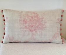 "NEW Kate Forman Sophia Pink Linen Fabric 20""x12"" Pom Pom or Piped Cushion Cover"