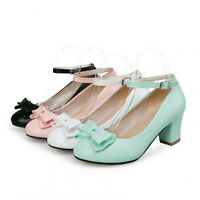 Cute Womens Block Sweet Bow Tie High Heels Shoes Mary Janes Ankle Strap Pumps