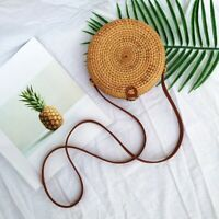 Womens Hand-Woven Rattan Bag Lady Straw Purse Wicker Crossbody Beach Bag Gift