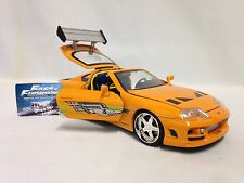 "FAST FURIOUS 7 BRIAN'S TOYOTA SUPRA, COLLECTIBL, 8"" DIECAST 1:24 JADA TOY ORANGE"