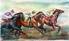 Original Equine Horse racing Painting by Robert Guy