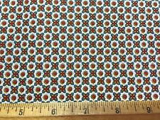 Vintage Cotton Fabric 40s50s PRETTY Red Dots Blue Red Yellow Flowers 34w 1yd