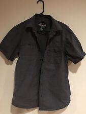 marc ECKO button down shirt dark grey black collar collared short sleeve small