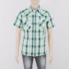 Soul Cal Mens Size S Grey Green Check Short Sleeve Shirt