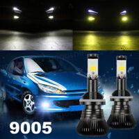 2Pcs 9005 HB3 80W Car LED Fog Driving Light Bulb Lamp Dual Color 6000K 3000K
