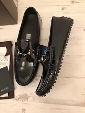 GUCCI Black Patent Leather Horsebit Loafers Driving Sz UK 12 IT 46 NEW WITH BOX!
