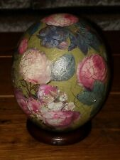 Vintage South African Painted Ostrich Egg Decorated Flowers signed EGR