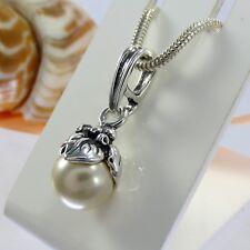 A404 Pendentif 925 Sterling Argent Perles Bijoux floral motif style art déco nouveau