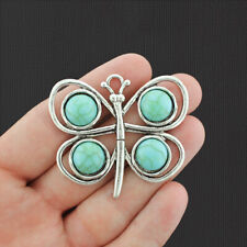 Butterfly Pendant Charm Antique Silver Tone with Imitation Turquoise - SC2667