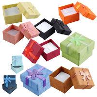 24 Stück Ring Ohrring Schmuck Display Geschenk Box Schleife quadratisch Kas H2Z3