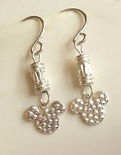 Silver Mickey Mouse Earrings Plated Ears Cartoon Disney Pierced USA Seller