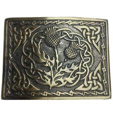 AAR Scottish Kilt Belt Buckle Thistle Emblem Celtic Knots Antique Finish