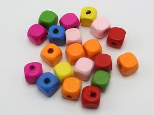 500 Mixed Bright Candy Color 10mm Cube Wood Beads~Wooden Spacer Wholesales Bulk