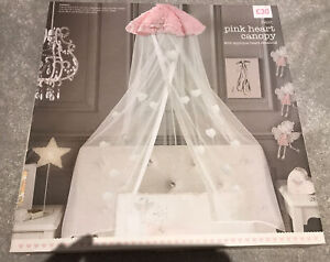 Next - Pink Heart Canopy with Applique Heart Detailing *New in Box * 💕💕RRP £30