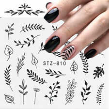 Nail Art Water Decals Stickers Transfers Black Leaf Flowers Fern Floral (810)