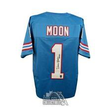 71d6a6aee Warren Moon HOF Autographed Houston Oilers Custom Blue Football Jersey -  JSA COA