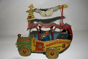 1920's Made in Germany Fischer Toys Weekend Hillbilly Car, Original
