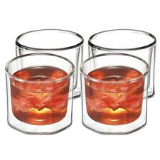 ZENS Double Wall Lowball Glasses Set of 4, Insulated Small Glass Tea Cups, 4.5oz