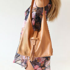 Genuine Leather Womens Brown Hobo Bag Tan Handbag Boho Shoulder Crossbody Bags