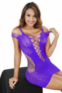 Plus Size Women Sexy Lingerie See-through Babydoll Fishnet Dress Sleepwear Hot