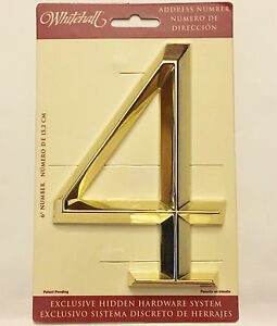 """WHITEHALL Door House Address Street Number 4 #4 Polished Brass  6"""" 152mm 6 in"""
