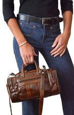 Genuine Leather Handbag Purse Duffel Style Shoulder Bag Women's BROWN Cross Body