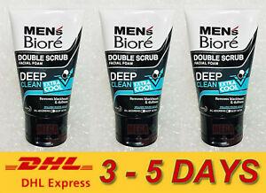 3 x Biore Mens Facial Foam Double Scrub Black White Deep Clean Extra Cool 100ml.