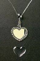 Photo Crystal Heart Pendant Charm Adjustable Necklace Chain Silver Plated Metal