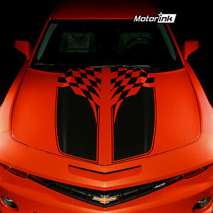 2010 2012 2013 Chevrolet Camaro Checkered Flag Rally Stripes Decals Hood & Trunk