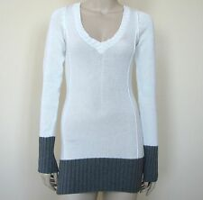 NEW GUESS WHITE+GREY,GRAY+BLACK+BLUE+GREEN TRIM PAULINE TUNIC LONG SWEATER,DRESS