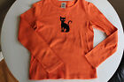 OLD NAVY*Girls Sz10*Orange Long Sleeve Tshirt*Black Cat*Silver Eyes*100% Cotton