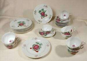 """8 Gedecke Tee Service """"ostfriesische Rose"""" August Warnecke"""