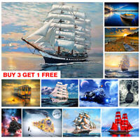 Full Drill Traffic Boat 5D Diamond Painting Cross Stitch Embroidery Art Decor