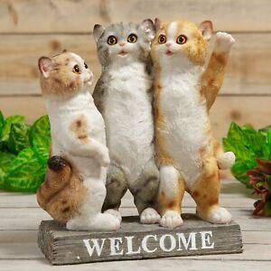 Three Kittens Cats Welcome Ornament Figurine Statue Home Garden 28cm