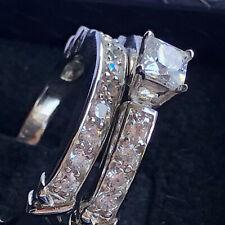 Wedding Ring Set B/Hsn Sz6-9 2ctw* Princess Cz Solid 925 Silver