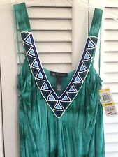 $99 NWT INTERNATIONAL CONCEPTS INC GREEN TIE DYE HIPPIE BEADED MAXI DRESS MEDIUM