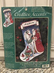 c 2001 Dimensions Creative Accents Santa's Gift Stocking Kit #7959 Cross Stitch