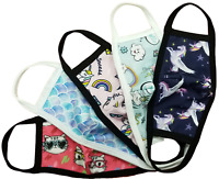 (5 pack) Sookie Girls Washable Protective Reusable Face Mask /w Pouch #2
