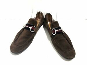 Auth GUCCI Horsebit Brown Silver Suede Hardware Mens Shoes US # 7
