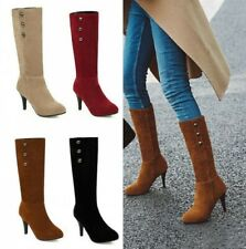 Women's Stud Pull On Pointy Toe High Heel Casual Smart Office OL Mid Calf Boots