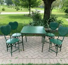 Antique Vintage Mechanical Folding Vinyl Table 4 Chairs Green Decorate Heart