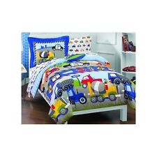 Bedding Set Trucks Tractors Construction Blue Boys Planes Police 5 Piece TWIN