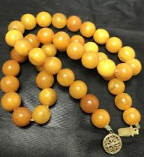 ANTIQUE NATURAL BALTIC AMBER BUTTERSCOTCH EGG YOLK ROUND BEADS 16 Grams Tested *