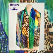 Crystal Embellished Scarf, Multicoloured, Exotic, Tropical, Tribal Print