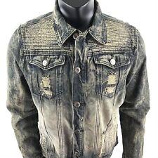 1738 Original Brand Distressed Jean Jacket Mens Acid Wash Denim Size Large