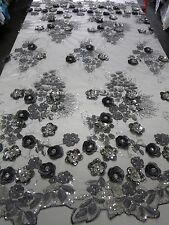 Silver Mesh w/ Embroidery Beaded Lace & Sequins Fabric - Sold by the Yard
