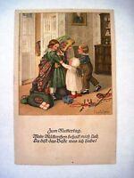 """Vintage """"Pauli Ebner"""" Postcard w/ Children Hugging Mother *"""